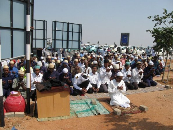 Juma Prayers at GMR RGIA HYDERABAD IN OPEN UNDER HOT SUN.