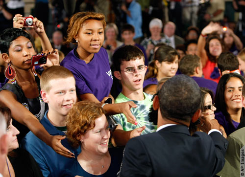 Obama Meeting Children on ther first Day at School, Observe the admiration on the faces of these young Americans